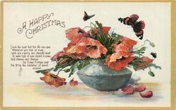 A HAPPY CHRISTMAS squat blue vase of red poppies, insects above