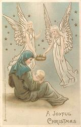 A JOYFUL CHRISTMAS  two angels carry crown for Jesus who is sitting on mother's lap left