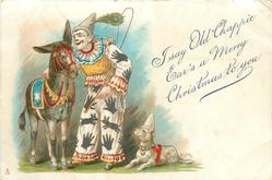 I SAY OLD CHAPPIE EAR'S A MERRY CHRISTMAS TO YOU  clown talks in donkeys ear, dog right