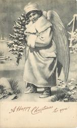 A HAPPY NEW YEAR TO YOU  angel with a small tree in his hand