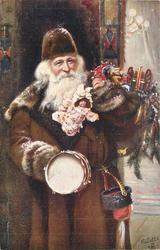 many toys, prominent drum & doll