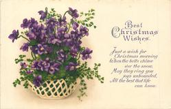 BEST CHRISTMAS WISHES   basket of violets