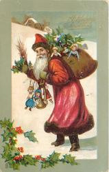 A HAPPY CHRISTMAS  Santa with sack of toys & others dangling from his right arm, walking left, looking front