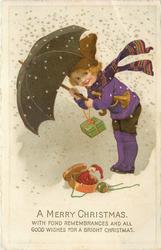 A MERRY CHRISTMAS  young girl dressed in purple, in snow storm, under umbrella, punch puppet