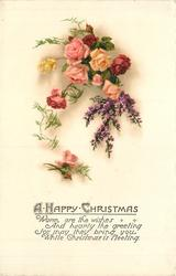 A HAPPY CHRISTMAS    roses & purple heather