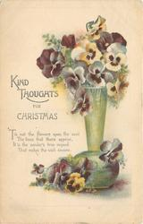 KIND THOUGHTS FOR CHRISTMAS   pansies in green vase, no border