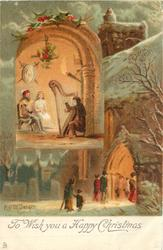 TO WISH YOU A HAPPY CHRISTMAS  inset of harp player, snow scene outside