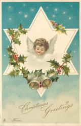 CHRISTMAS GREETINGS  FROM  angels head in star, looking down front/left, holly around, two bells below
