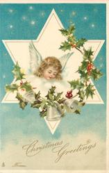 CHRISTMAS GREETINGS  FROM  angels head in star, looking down right, holly around, three bells below