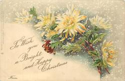 TO WISH YOU A BRIGHT AND HAPPY CHRISTMAS  FROM  yellow/white & one deep red chrysanthemums, snow falling