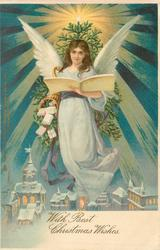 *WITH BEST CHRISTMAS WISHES  angel in blue/white dress floats over town, reading