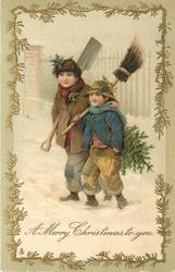A MERRY CHRISTMAS TO YOU  boy carrying  tree, broom & basket walks in snow *