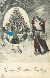 LOVING CHRISTMAS GREETINGS  Santa on right walking left, ovular insert left with three kids and a Christmas tree