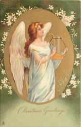 CHRISTMAS GREETINGS  gilt oval inset angel faces right & up holding harp