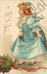 A HAPPY NEW YEAR golden haired girl in blue outfit steps left, holly bunch below