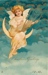 CHRISTMAS GREETINGS  angel sits on moon playing harp