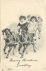 MERRY CHRISTMAS GREETINGS FROM: 4 children ride left on sleigh pulled by two black horses
