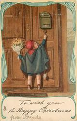 TO WISH YOU A HAPPY CHRISTMAS  boy ringing doorbell, ornate border