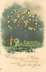WISHING YOU A HAPPY CHRISTMAS AND A BRIGHT NEW YEAR 1903 in stars over night scene