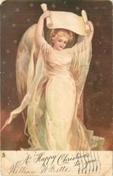 A HAPPY CHRISTMAS TO YOU  angel holds scroll over her head, starry background