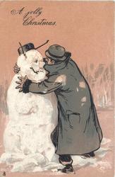 A JOLLY CHRISTMAS  drunk embraces snowman
