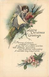 LOVING CHRISTMAS GREETINGS girl climbs tree, blossoms