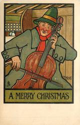 A MERRY CHRISTMAS man plays stand up bass