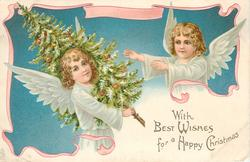 WITH BEST WISHES FOR A HAPPY CHRISMAS  two angels one carrying a tree