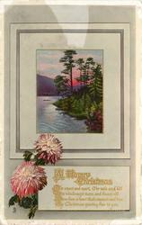 A HAPPY CHRISTMAS O'ER STREET AND MART... lochside inset, pink chrysanthemums