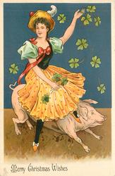 MERRY CHRISTMAS WISHES woman on pigs back, 4 leaf clover around