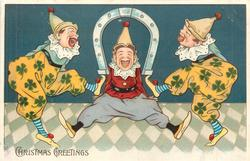 CHRISTMAS GREETINGS two clowns with horseshoe between them