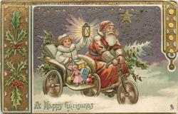 A HAPPY CHRISTMAS GREETINGS  Santa drives toy laden cycle, helper to his right