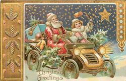 CHRISTMAS GREETINGS  Santa drives toy laden car, helper to his left