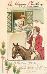 A HAPPY CHRISTMAS   A LOVE MISSIVE woman in window talking with man on horseback