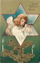 LOVING CHRISTMAS WISHES angel playing flute in star insert, tree branch with candles below