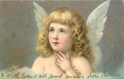 A BRIGHT AND HAPPY NEW YEAR or A  JOYFUL CHRISTMAS head & shoulders of angel with hand on throat, looking up