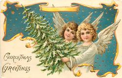 CHRISTMAS GREETINGS  two angels and Christmas tree
