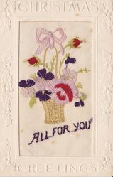 CHRISTMAS GREETINGS  embroidered flowers in basket
