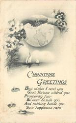 CHRISTMAS GREETING  with verse, hands clasp in front of globe, pansies around