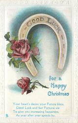 GOOD LUCK (on horseshoe) FOR A HAPPY CHRISTMAS roses