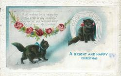 A BRIGHT AND HAPPY CHRISTMAS  GOOD LUCK in horseshoe   two black cats, red roses