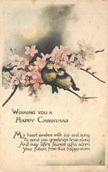 WISHING YOU A HAPPY CHRISTMAS  two birds perch on branch filled with pink blossoms