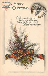 A HAPPY CHRISTMAS  (flowers tied with tartan bow, horseshoes)