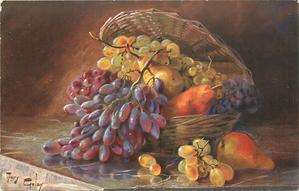 pears & grapes in basket, and on table