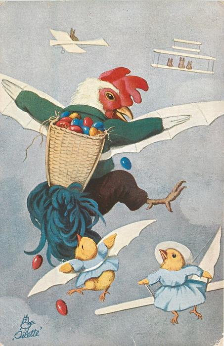dressed cockerel with extra wings flies carrying basket of multicoloured eggs on his back, two chicks fly below
