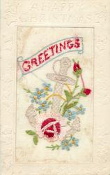 A HAPPY CHRISTMAS (embossed), GREETINGS in red, pink/red rose & two buds, blue forget-me-nots, anchor