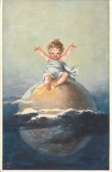 ребенок сидит на вершине земного шара, размахивая обеими руками