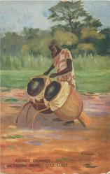 ASHANTI DRUMMER WITH TALKING DRUMS
