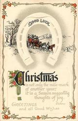CHRISTMAS GREETINGS AND ALL GOOD WISHES horseshoe inscribed GOOD LUCK