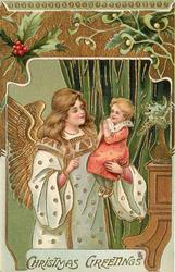 CHRISTMAS GREETINGS angel holding small child in arms